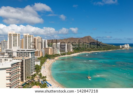 Scenic view of Honolulu city and Waikiki Beach; Hawaii, USA - stock photo
