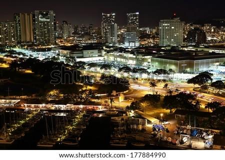 Scenic view of Honolulu city at night. - stock photo