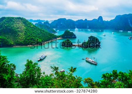 Scenic view of islands in Halong Bay, Vietnam, Southeast Asia - stock photo