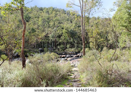Scenic view of jarrah  forest and  slippery rock formations at Lennard falls in the Wellington national Park near Collie Western Australia  after a shower of rain in early winter .