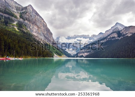 Scenic View of Lake Louise, Banff National Park, Alberta , Canada - stock photo