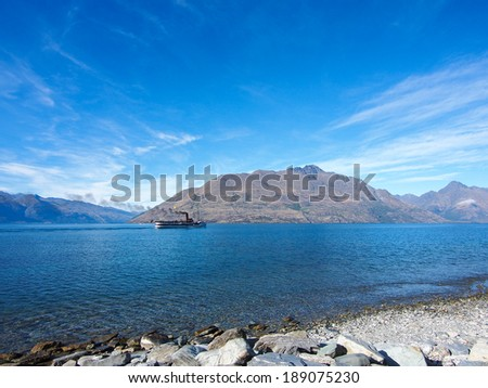 Scenic view of lake Wakatipu, Queenstown, New Zealand