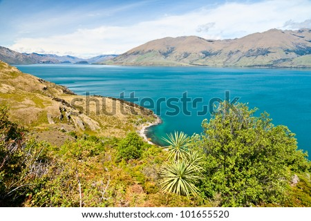 Scenic view of Lake Wanaka in the South Island of New Zealand - stock photo