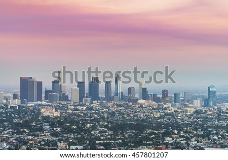 scenic view of Los Angeles skyscrapers at sunset,California,usa.