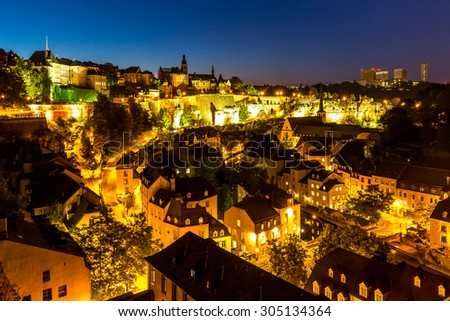 scenic view  of Luxembourg City, downtown at dusk - stock photo