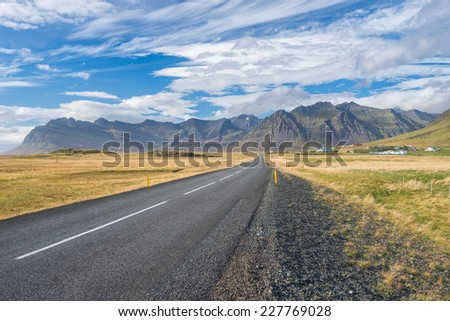 Scenic view of main road on Iceland. - stock photo