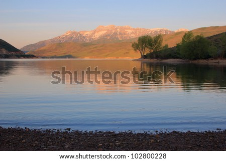 Scenic view of majestic Mount Timpanogos, Utah. - stock photo
