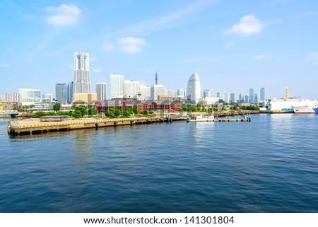 Scenic view of Marina Port Minato-Mirai in Yokohama City, Japan. - stock photo