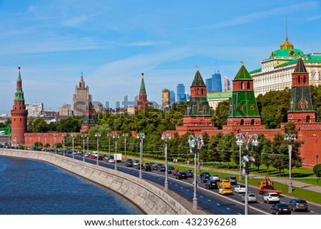 Scenic view of Moscow Kremlin. Cloudy day shot with Moscow river. Panorama view of Moscow city, Russia. Postcard with Moscow Kremlin view. - stock photo