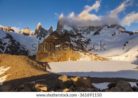 Scenic view of Mount Fitz Roy. Patagonia. Argentina. - stock photo