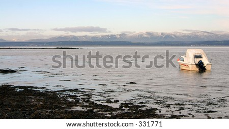 Scenic view of mountains over the River Forth Scotland - stock photo