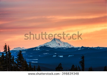 scenic view of mt Jefferson on sunset  in winter,Oregon,usa. - stock photo