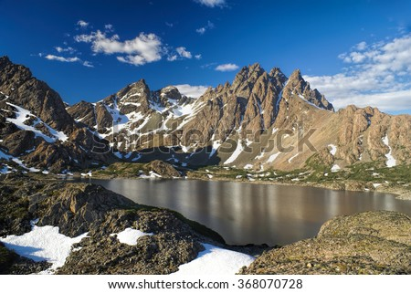 Scenic view of Navarino peaks on Navarino island in southern Chile