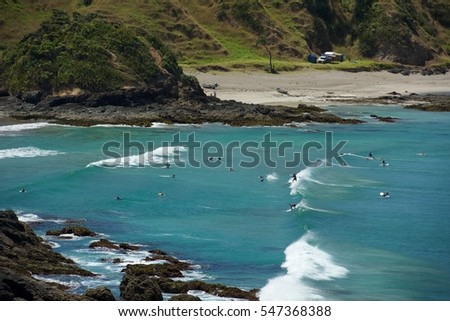 Scenic view of nice beach in Russel area, New Zealand