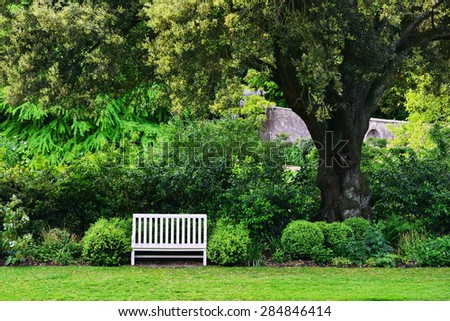 Scenic View of of a Peaceful Green Garden - stock photo