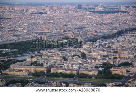Scenic view of Paris at sunset, France - stock photo