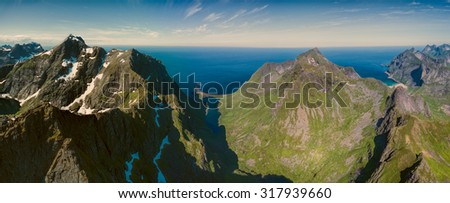 Scenic view of peaks on Lofoten islands in Norway