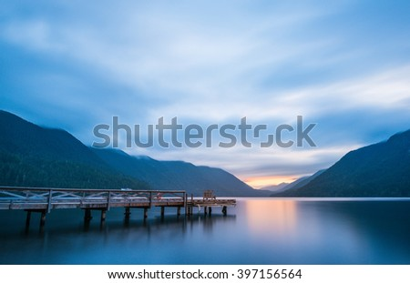 scenic view of pier in lake Crescent when sunset, in Olympic national park,Washington State.Usa - stock photo