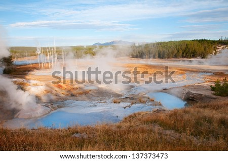Scenic view of Porcelain Basin in Yellowstone National Park, Wyoming.