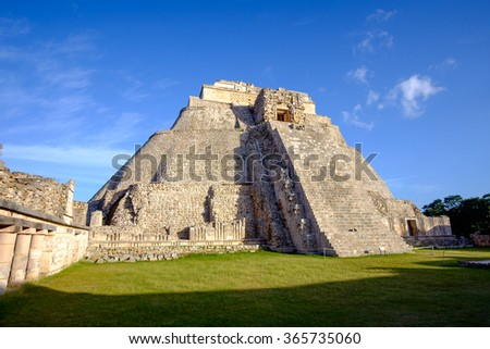 Scenic view of prehistoric Mayan pyramid in Uxmal, Mexico - stock photo