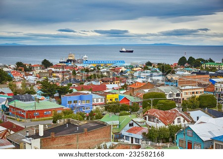 Scenic view of Punta Arenas with Magellan Strait in Patagonia, Chile, South America - stock photo