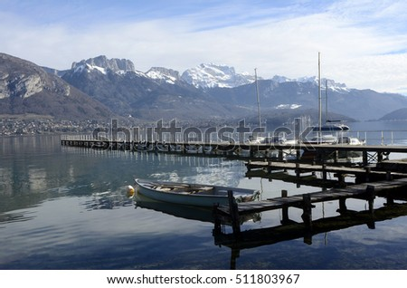 Scenic view of quiet blue Annecy lake landscape, in Savoy, france and mountains