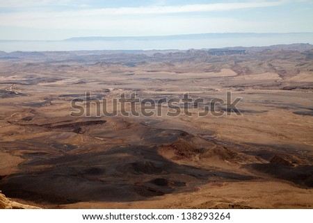Scenic view of Ramon Crater  in Negev desert, Israel.