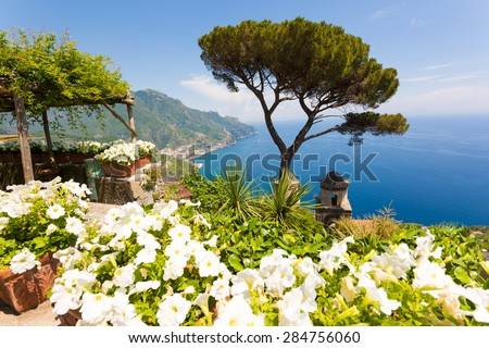 Scenic view of Ravello, Amalfi Coast Salerno, Italy. Famous tree with blue sea and sky, white flowers in foreground. - stock photo