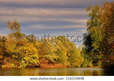 Scenic view of river in autumn