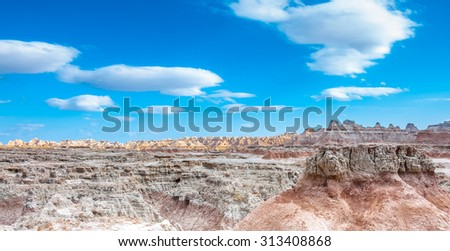 Scenic view of Rock formations in Badlands National Park, South Dakota, USA in the day light  - stock photo
