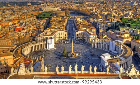 Scenic view of Rome from Saint Peter's square