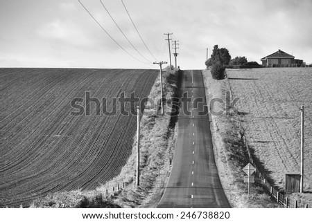 Scenic view of rural farmland Table Cape northern Tasmania - stock photo