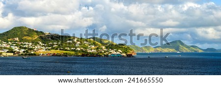 Scenic view of Saint Kitts in the Caribbean - stock photo