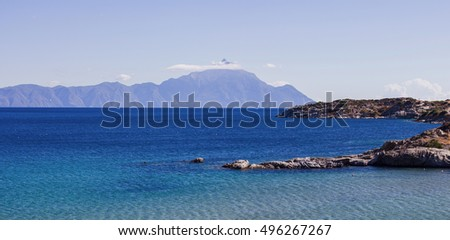 Scenic view of seascape and nature landscape of Holy Mountain Athos, Greece, Summer time vacation destination.