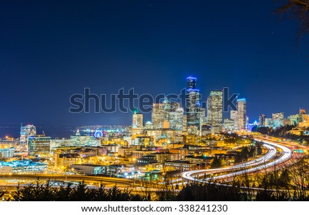scenic view of seattle city scape at night time,Washington,USA. - stock photo