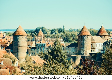 Scenic view of Semur-en-Auxois, a beautiful medieval town in Burgundy (France). Toned photo. - stock photo