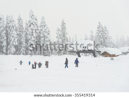 scenic view of small people  around ski resort when snowy day.