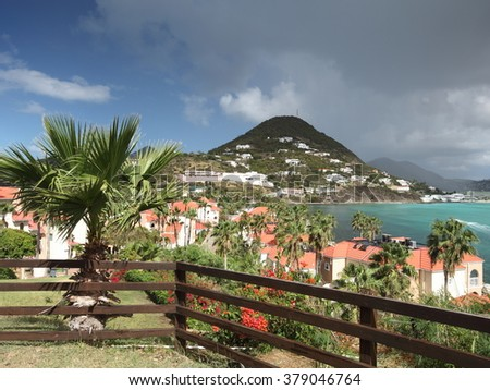 Scenic view of St. Maarten, Dutch-side, in the Caribbean - stock photo