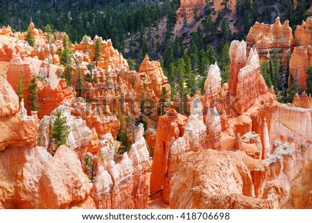 Scenic view of stunning red sandstone hoodoos in Bryce Canyon National Park in Utah, USA - stock photo