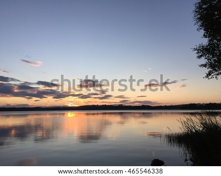 Scenic view of sunset over loch
