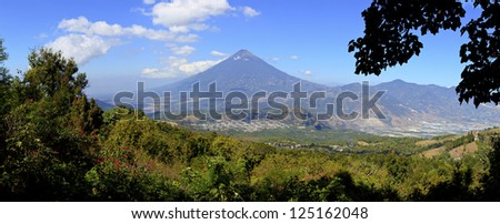Scenic View of the Agua Volcano as seen from the slopes of the Pacaya Volcano - stock photo