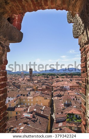 Scenic view of the ancient city of Lucca, from Guinigi Tower - stock photo