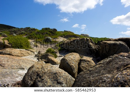 Scenic view of the ancient rocky coastline of the  Southern Ocean  at Flinder's Bay ,Augusta South Western Australia with the tide receding.
