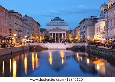 Scenic view of the Canal Grande in Trieste, Italy at night. - stock photo