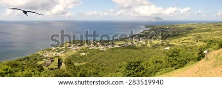 Scenic view of the Caribbean seen from the island of Saint Kitts - stock photo
