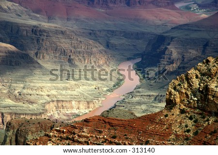 Scenic view of the Colorado River winding through the Grand Canyon. - stock photo