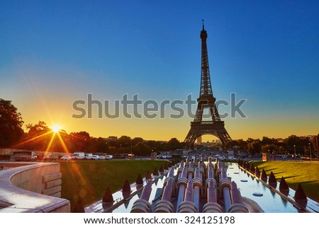 Scenic view of the Eiffel tower during sunrise, photo taken from Trocadero - stock photo