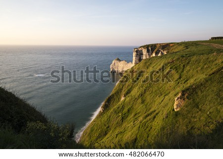 Scenic view of the famous cliffs of Etretat in Normandy, France