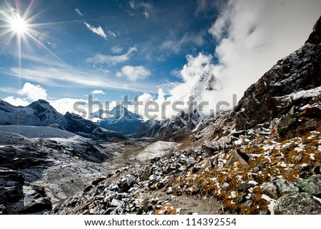 Scenic view of the Himalaya mountains - stock photo