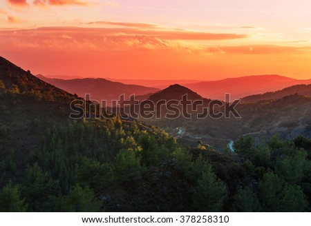 Scenic view of the mountains in Cyprus - stock photo